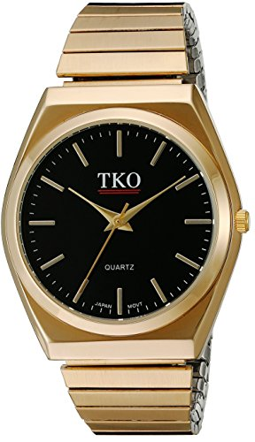 TKO Black Gold Watch Expansion Band Stainless Steel Stretch Thin Case Gold Face Dress Flex Vintage Watch TK649BK