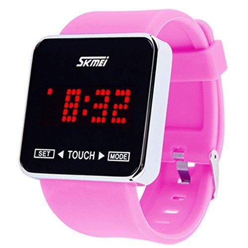 SKMEI Touch Screen Digital LED Waterproof Boys Girls Sport Casual Wrist Watches Pink