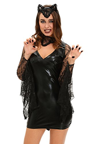 Sexy Cheap Halloween Costumes Ideas (Women Adult Party Fancy Lace Neck V Neck 3pcs Sexy Moonlight Bat Cosplay Halloween Costume Tunic Dress)
