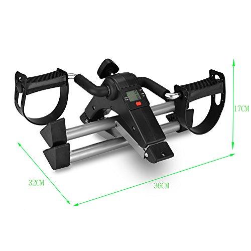 MOMODA Stationary Cycle Pedal Exerciser Desk Exercise Bike with LCD Monitor Foldable (Black/Grey) by MOMODA (Image #3)