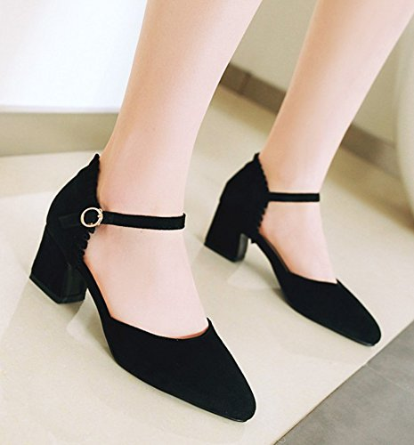 Sandali A Punta Donna Aisun - Comfort Tacco Medio Elegante Con Fibbia - Scarpe Dorsay Chunky Con Cinturino Alla Caviglia Nero
