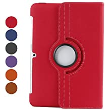 360 Degree Rotating Twill Case with Stand for Samsung Galaxy Tab2 10.1 P5100/P5110 ( Color : Red )