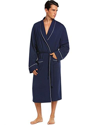 3a29bed25c Donet Bathrobe Mens Cotton Spa Robes Lightweight Bath Robe Lounge Sleepwear