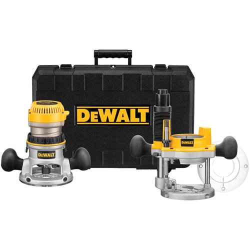 DEWALT DW618PKR 2-1 4-Horsepower Electronic Variable Speed Fixed Base Plunge Router Combo Kit with Soft Start Certified Refurbished
