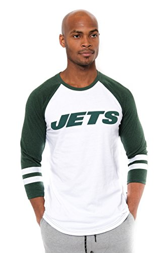 New York Jets Jersey (Icer Brands NFL New York Jets Men's T-Shirt Raglan Baseball 3/4 Long Sleeve Tee Shirt, Large, White)