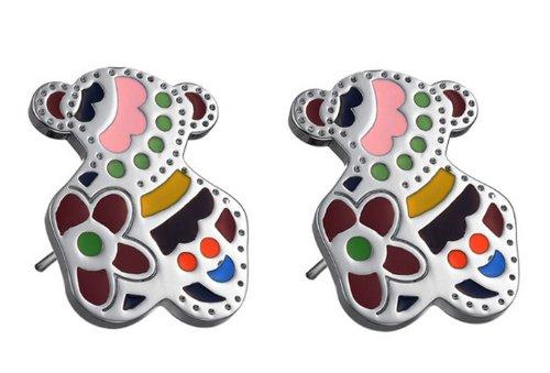 Fekkai Girl's Titanium Stainless Steel Ear Hammer Cute Colorful Little Bear Stud Earrings