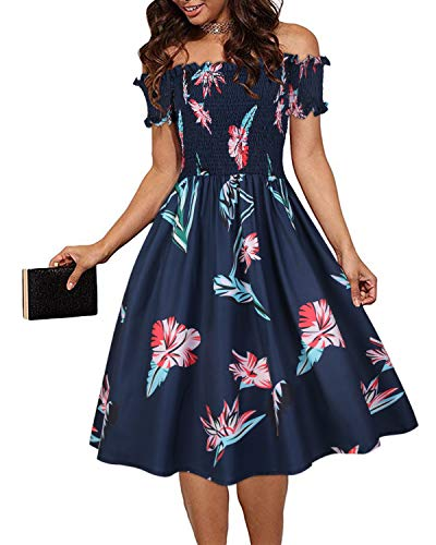 Smocked Floral Cocktail - VOTEPRETTY Women's Off The Shoulder Floral Dress Strapless Cocktail Dresses with Pocket (Floral04,M