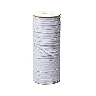 "Top Hunter White 120-Yards Length 1/8"" Width Braided Elastic Cord/Elastic Band/Elastic Rope/Bungee/White Heavy Stretch Knit Elastic Spool (White)"