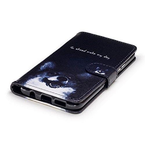 TOCASO Funda de Cuero Samsung Galaxy A5 (2016) A510 Cuero Funda Piel para con Tapa Samsung Galaxy A5 (2016) A510 [Garantía de por vida] Soporte Plegable Ranuras para Tarjetas y Billetes Estilo Libro C Perro Keke