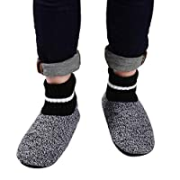 Panda Bros Slipper Socks Soft Cozy Thick House Indoor Boot Sock Shoes with Anti-Skid Bottom Soles for Men