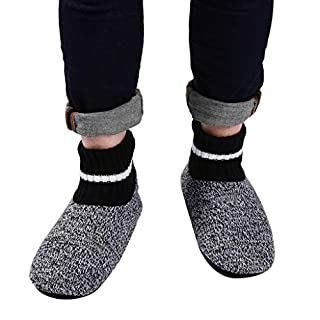 Panda Bros Slipper Socks Soft Cozy Thick House Indoor Boot Sock Shoes with Anti-Skid Bottom Soles for Men's(strips,10-13)