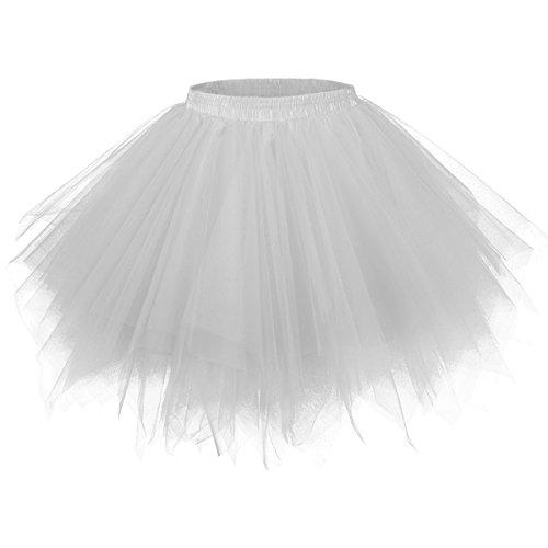 Girstunm Women's 1950s Vintage Petticoats Bubble Tutu Dance Half Slip Skirt Silver 2XL