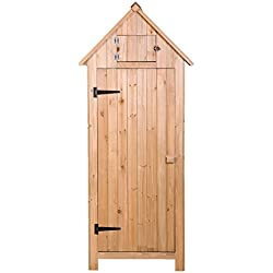 Merax Wooden Garden Shed Wooden Lockers with Fir Wood (Natural Wood Color - Arrow shed)