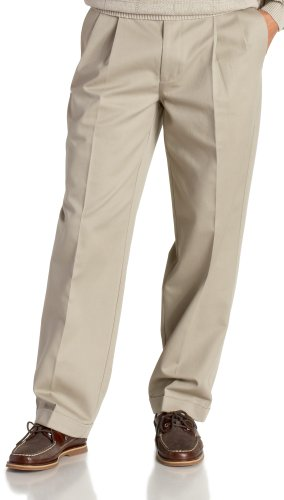 IZOD Men's Big and Tall Pleated Extended Twill Pant, Khaki, 48W x (Big Tall Mens Pants)