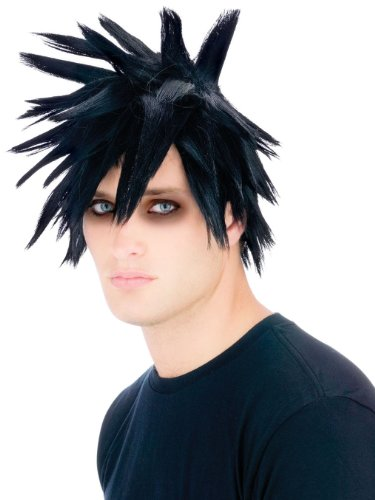 Scenester Costume Emo Punk Rock Wig Spiked Hair Black Wig