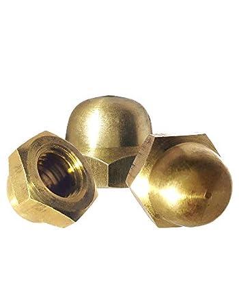 10 Pcs #10-24 Dome Head Brass Cap Acorn Hex Nuts Super-Deals-Shop