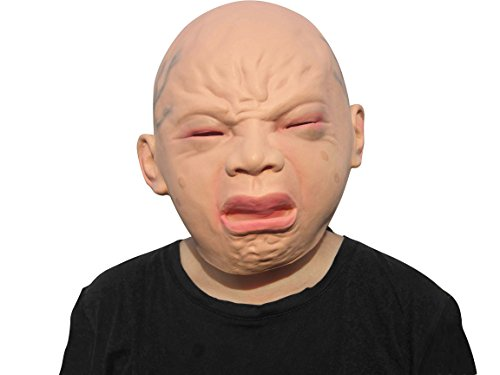 [LUBBER halloween creepy costume cry baby mask latex head mask] (Baby Head Mask)