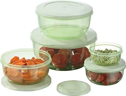 Bhavyam 5 pcs Plastic Container Set for Kitchen Refrigerator Home(290 ml,580 ml,1000 ml,1700 ml,2700 ml/Multi)