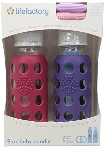 Lifefactory BPA-Free Glass Baby Bottle Gift Set with Two 9-Ounce Glass Bottles and Silicone Teether, Raspberry & Royal Purple