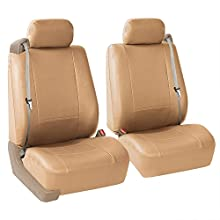 FH Group PU309TAN102 Tan Front PU Leather Seat Cover, Set of 2 (Set Built in Seat Belt Compatible Airbag Ready)