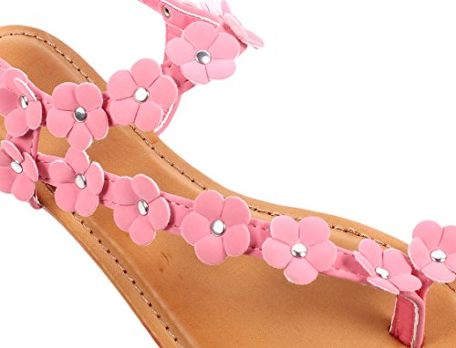 Bamboo Fashion Buckle Casual Summer Flowers Shape Slingback Flats Womens Sandals Shoes New Without Box Bubble Gum TlWIqB4w