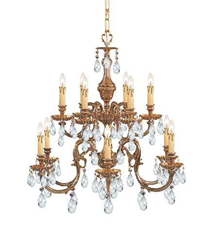 Crystorama 2912-OB-CL-SAQ, Novella Swarovski Crystal Chandelier Lighting, 12 Light, 720 Watts, Brass