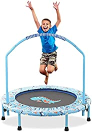 38Inch Trampoline with Adjustable Handrail &Safety Padded &Mini Foldable Trampoline Cover for Kids Ind