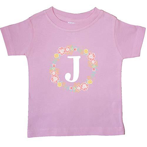 inktastic - Monogram Letter J Floral Rose Baby T-Shirt 18 Months Pink 31b70
