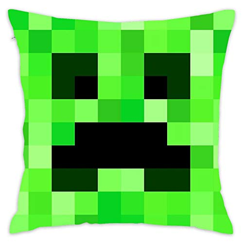 (Hsdfnmnsv Pixel Face Pattern Fits for Minecraft Creeper Game Lovers Fan Design Home Decor Decorative Throw Pillow Cover Case Sofa Waist Coach Pillowcase Cushion Cover (18