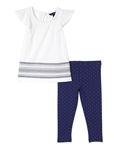 (Nautica Baby Girls' Fashion Top with Legging Two Piece Set, Cream Polka Dot, 6 Months)