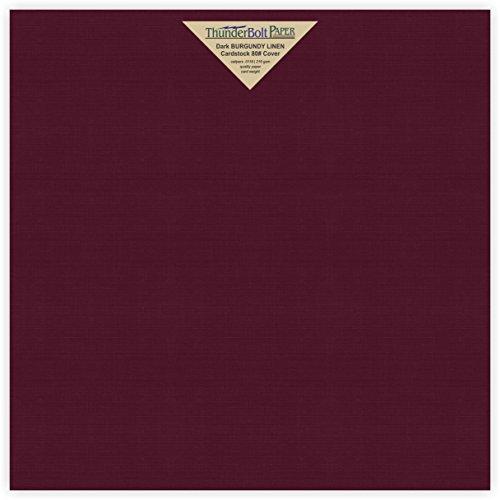 25 Dark Burgundy Linen 80# Cover Paper Sheets - 12