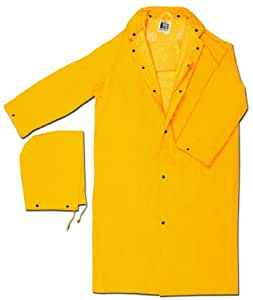 MCR Safety 240CX3 49-Inch Classic Plus PVC/Polyester Corduroy Collar Coat with Detachable Hood and Cape Vented Back, Yellow, 3X-Large