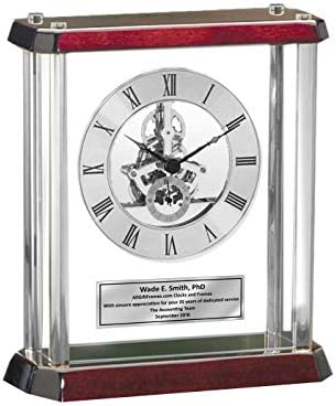 Engraved Gear Davinci Clock Glass Pantel Silver Engraved Plate Retirement Gift Birthday Employee Coworker Service Award Wedding Anniversary