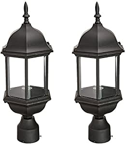 Designers Fountain 2976-BK Devonshire Outdoor Post Lanterns, 20 inch, Black - 2 Pack