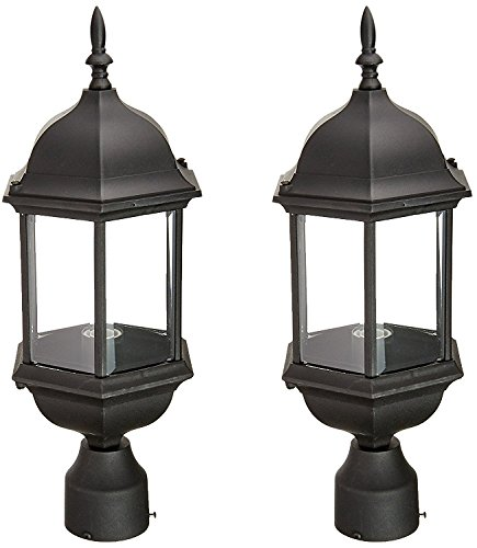 Designers Fountain 2976-BK Devonshire Outdoor Post Lanterns, 20 inch, Black - 2 Pack by Designers Fountain
