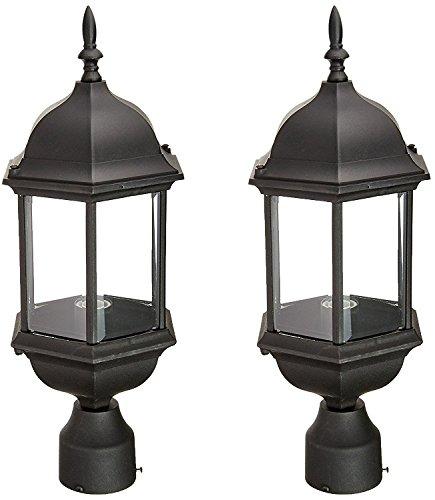 976-BK Devonshire Outdoor Post Lanterns, 20 inch, Black - 2 Pack (20 Inch Outdoor Wall Lantern)