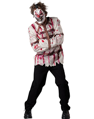 InCharacter Costumes Men's Circus Psycho Clown Costume, White/Red, Large