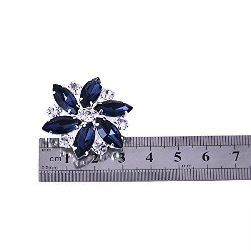 ElegantPark AJ zapatos de boda de vestir Accesorios Cristales Desmontable zapato Clips 2 Pcs Azul marino