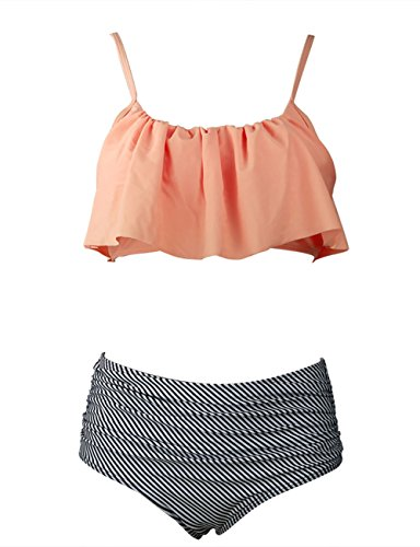 Women's Retro Boho Flounce Falbala High Waisted Tankini Set Chic Swimsuit(FBA)(2XL,Orange) (Plus Size Bikinis)