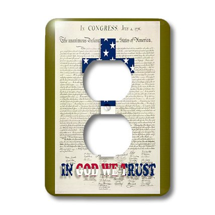 3dRose lsp_22367_6 Declaration of Independence Background with Christian Cross in Usa Colors 2 Plug Outlet Cover by 3dRose
