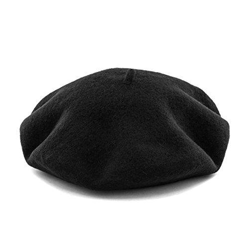 JOOWEN Women's Vintage Classic French artist Solid 100% Wool Beret Hat Beanie Cap (Black)