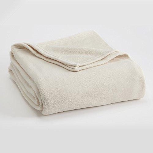 FLEECE BLANKET BY VELLUX - Full/Queen, Microfiber, Polar fleece, Lightweight, Warm, Soft - Winter White
