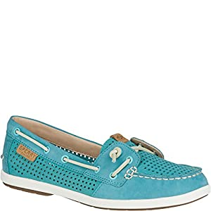 Sperry Top-Sider Women's Coil IVY Perf Boat Shoe, Aqua, 9 M US
