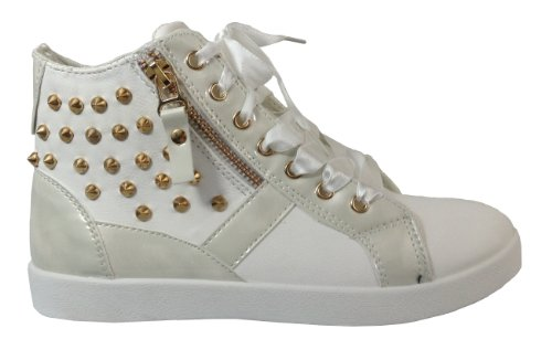 Ladies Sneakers Lace Up Flat Ankle High Tops Trainers with studs and zipper appliqu