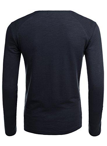 Hemoon A Homme Boutons T Solide Haut Manches Bleu shirt Longues fSfwP