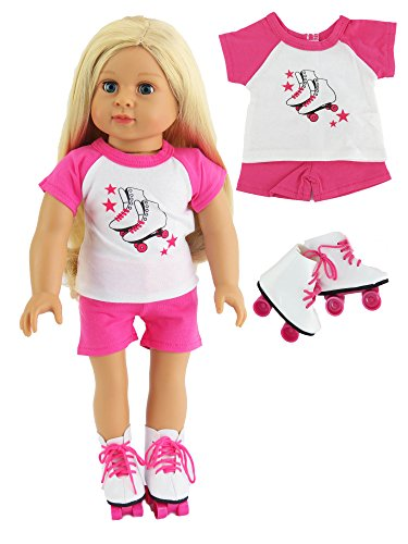 Hot Pink Roller Skate Short Set with Skates | Fits 18