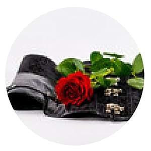 alfombrilla de ratón corsé negro con una rosa roja - ronda - 20cm