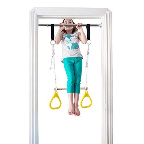 DreamGYM Doorway Gymnastics Bar | Trapeze Bar and Rings Combo | Yellow by DreamGYM (Image #7)