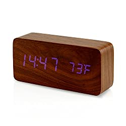 Oct17 Wooden Digital Alarm Clock, Fashion Multi-function LED Alarm Clock with Snooze and USB Power Supply, Voice Control, Timer, Thermometer - Brown