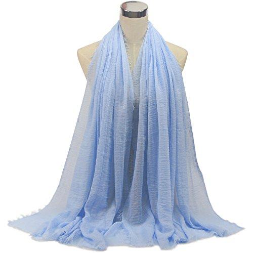 (Women Hijab Scarf Cotton Linen Crinkle Shawl Stole Islam Muslim Scarves 23#)